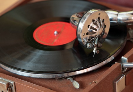 remix: Image of the old gramophone with vinyl record.