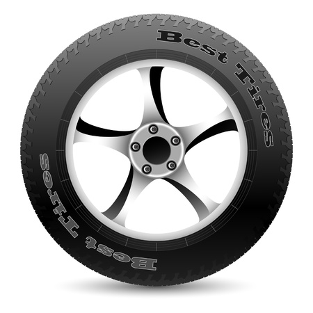 wheel rim: Illustration of car wheel on a white background. Vector.