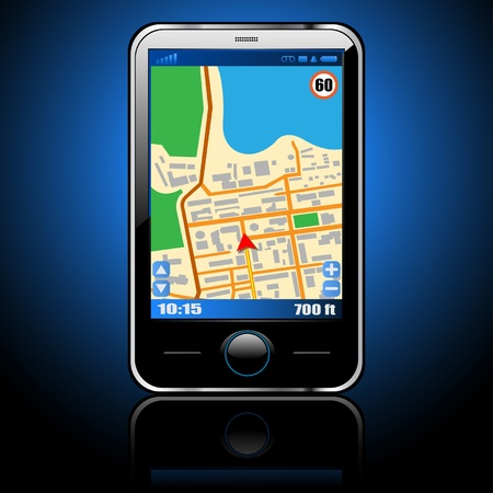 location: Illustration smart phone with GPS navigation. Vector.