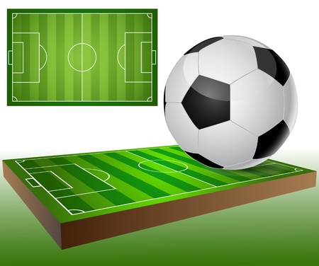 Illustration of a football field and a soccer ball.