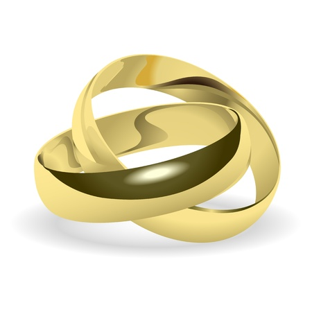 sacrament: Two gold wedding rings on a white background.