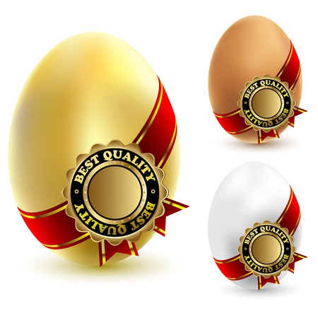 Illustration of three chicken eggs with a ribbon and sign of quality.