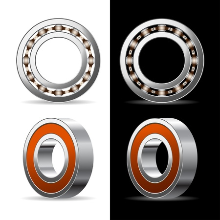 Illustration of ball bearings  on a white and black background. Stock Vector - 10420387