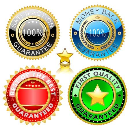 etiquetas redondas: Ilustraci�n de un conjunto de oro marca el mejor calidad. Vectores