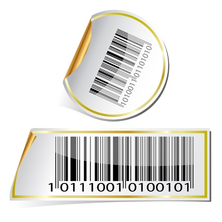 barcode: Illustration labels with bar code on a white background.