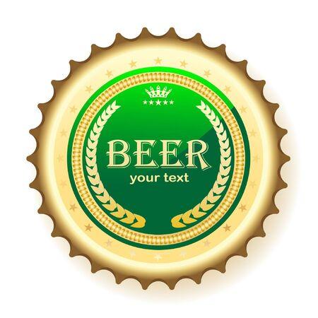Ilustración de tapa de la botella de cerveza, sobre un fondo blanco.