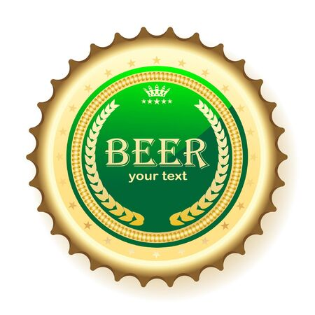 green beer: Illustration of bottle cap from beer, on a white background.