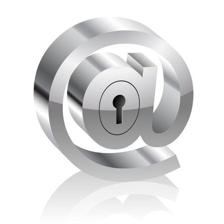 개인 정보 보호: 잠금 장치와 E-메일 기호의 그림입니다. 인터넷 보안 개념입니다.