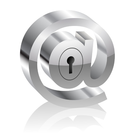 email security: Illustration of the E-mail symbol with lock. Internet security concept. Illustration