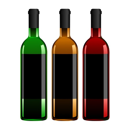 Illustration of the three wine bottles. Vector