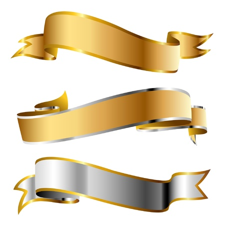 gold banner: Illustration flags on a white background.  Illustration