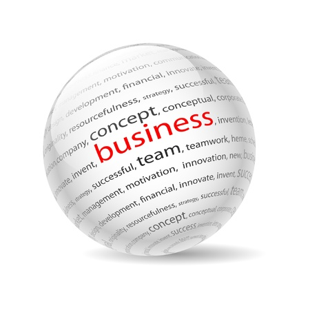 Illustration  ball with inscription business, on a white background. Vector