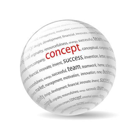 Illustration Ball mit Aufschrift Konzept, auf weißem Hintergrund. Illustration