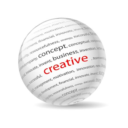 Illustration  ball with inscription creative, on a white background.  Vector