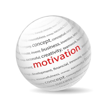 Illustration Ball mit Aufschrift Motivation, auf einem weißen Hintergrund.