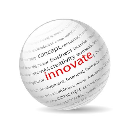 Illustration Ball mit Aufschrift Innovation, auf einem weißen Hintergrund. Illustration