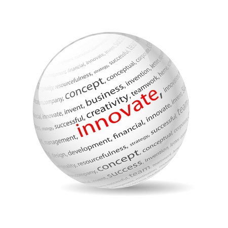 Illustration  ball with inscription innovate, on a white background. Vector