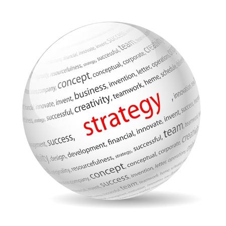 Ball mit Aufschrift Strategie, die auf einem weißen Hintergrund.