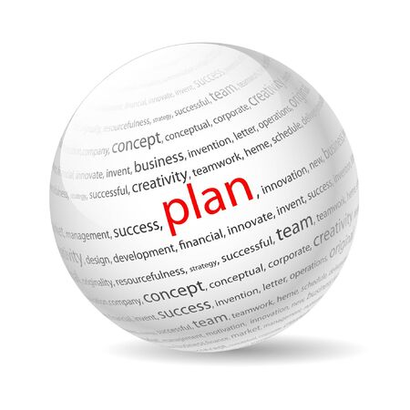 3d word: Ball with inscription plan, on a white background.