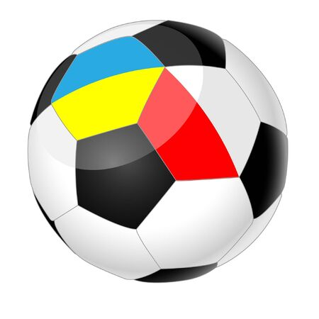 soccerball: Soccer ball isolated on white background, with the flags of Poland and Ukraine. Illustration