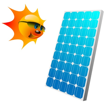 solar cells: Illustration of the sun and solar panels.