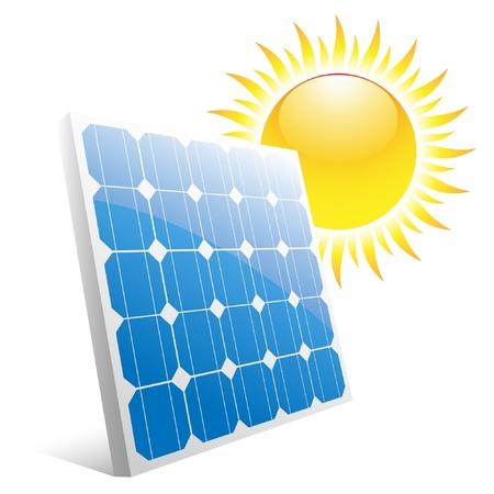 PLACAS SOLARES: Ilustración del sol y paneles solares.