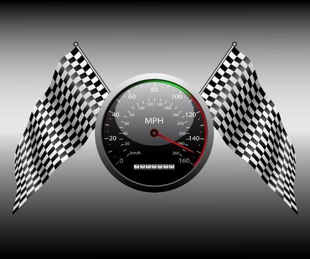 d�part course: Checkered drapeau et le compteur de vitesse sur un fond sombre.