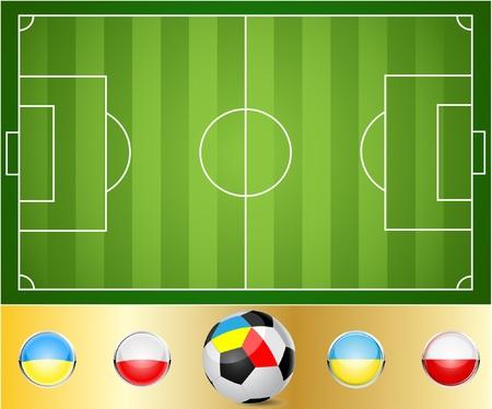 Illustrazione di un campo di calcio. Palla alle bandiere di Ucraina e Polonia.