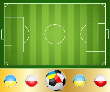 Illustration of a football field. Ball to the flags of Ukraine and Poland. Illustration
