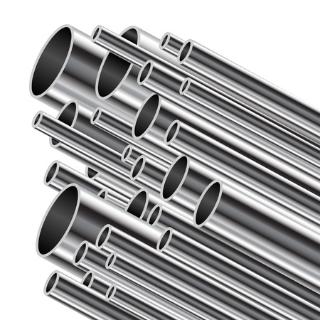 stainless steel background: Metal tube on a white background. Illustration
