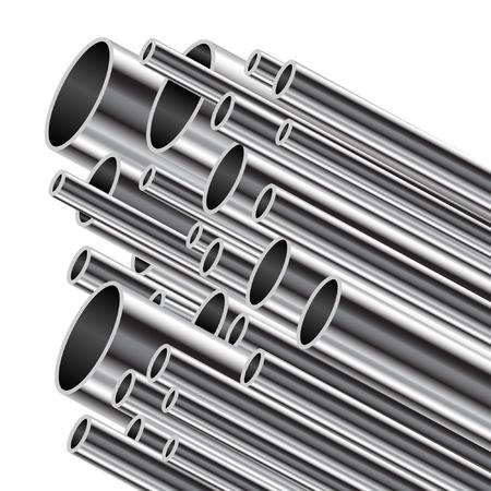 steel construction: Tubo metallico su uno sfondo bianco.