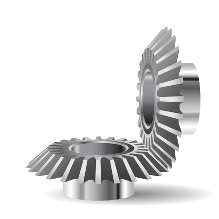 spinning factory: Illustration of gears on a white background.