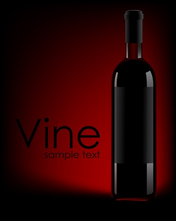 Illustration of a wine bottle against a dark background. Stock Vector - 10420391