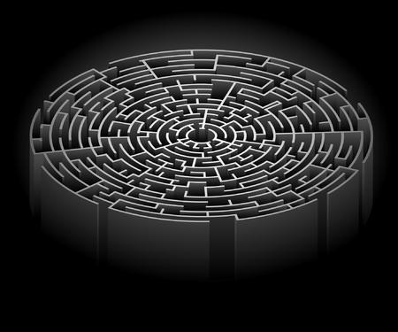 Illustration des Labyrinths auf einem schwarzen Hintergrund. Illustration