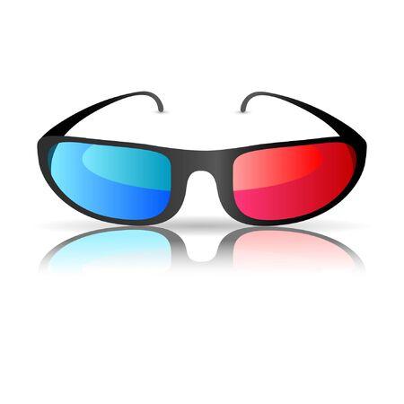 spec: 3D cinema glasses isolated on white background. Illustration