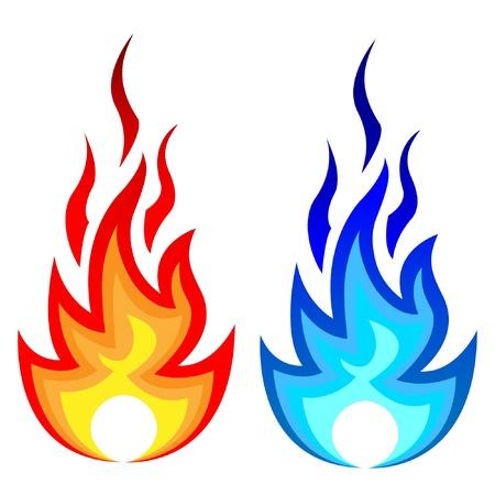 불꽃 화재 및 가스 불꽃의 그림입니다.