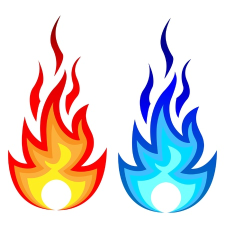 Illustration of flame fire and gas flame.