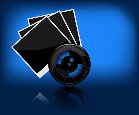 Illustrazione di fotocamera e una foto su sfondo scuro.