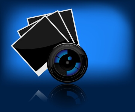 snapshots: Illustration of camera lens and a photo on dark background.