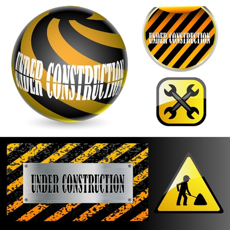 Under construction signs.  Illustration of the character set.  Vector