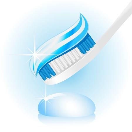 higiene bucal: Ilustración de un cepillo de dientes con pasta de dientes sobre un fondo blanco.