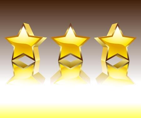 Illustration of the three gold stars. Vector.