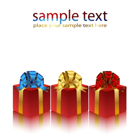 packaged: Gifts packaged in red boxes with bows. Vector.
