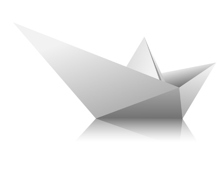 paper boat: Boat from a sheet of white paper on white background. Vector.