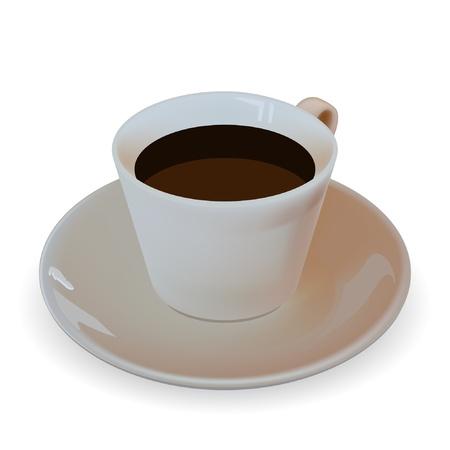 siesta: Illustrazione di tazza di caff� su uno sfondo bianco. Vector.