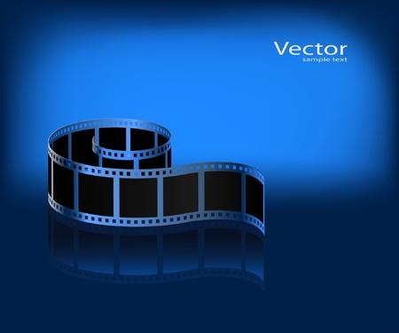 Film auf einem dunklen blauen Hintergrund. Vektor.