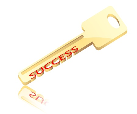 antique keys: Illustration of the gold key with inscription success. Vector.