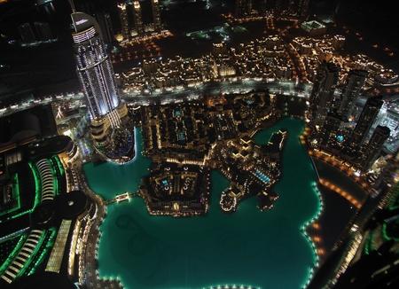 Panorama of modern city at night Dubai bird photo