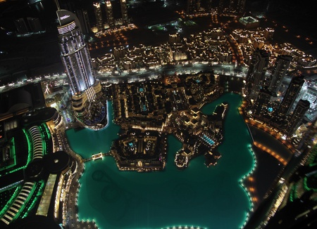 Panorama of modern city at night Dubai bird photo