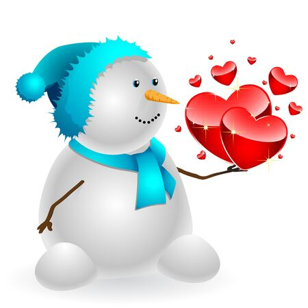 Happy Snowman with heart in hand, isolated on a white background.